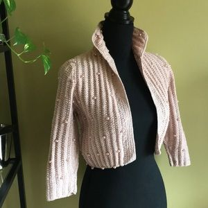 Fully beaded hand knit 1950's sweater